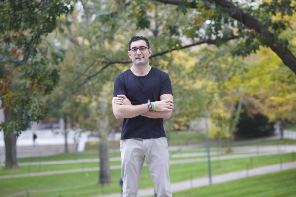 Jacob Khan in Harvard Yard, Cambridge MA 02138 USA