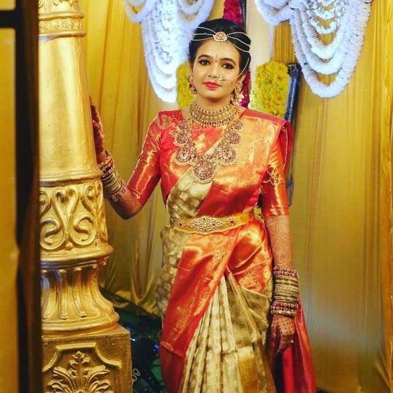 Bride Photo Weaved in Kanchipuram Silk Sarees at Kanjivaram Silks