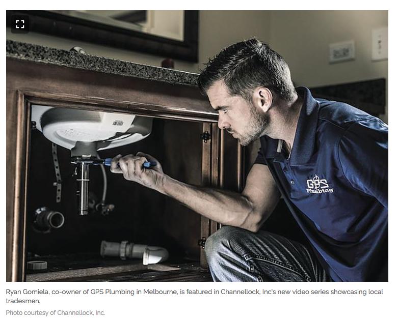 Ryan Gomiela of GPS Plumbing was chosen as one of CHANNELLOCK® tradesmen.