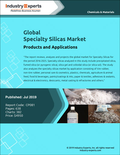 Owing to Precipitated Silicas Robust Application in Tire Rubbers Drives Global Specialty Silicas Market to Reach 3.7 Million Metric Tons by 2025 - Market Report (2019-2025) by Industry Experts, Inc.