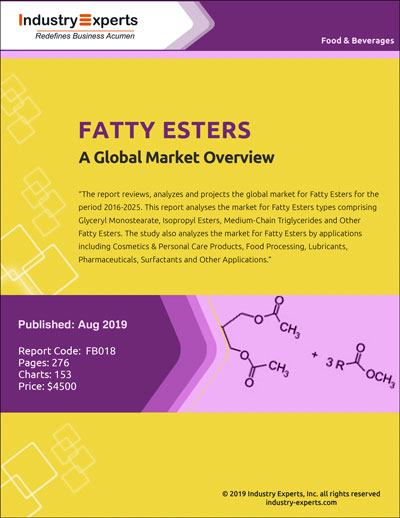 Global Fatty Esters Market to Witness Growth Driven by Food Processing Applications and Reach $3 Billion by 2025 - Market Research Report (2019-2025) by Industry Experts, Inc.