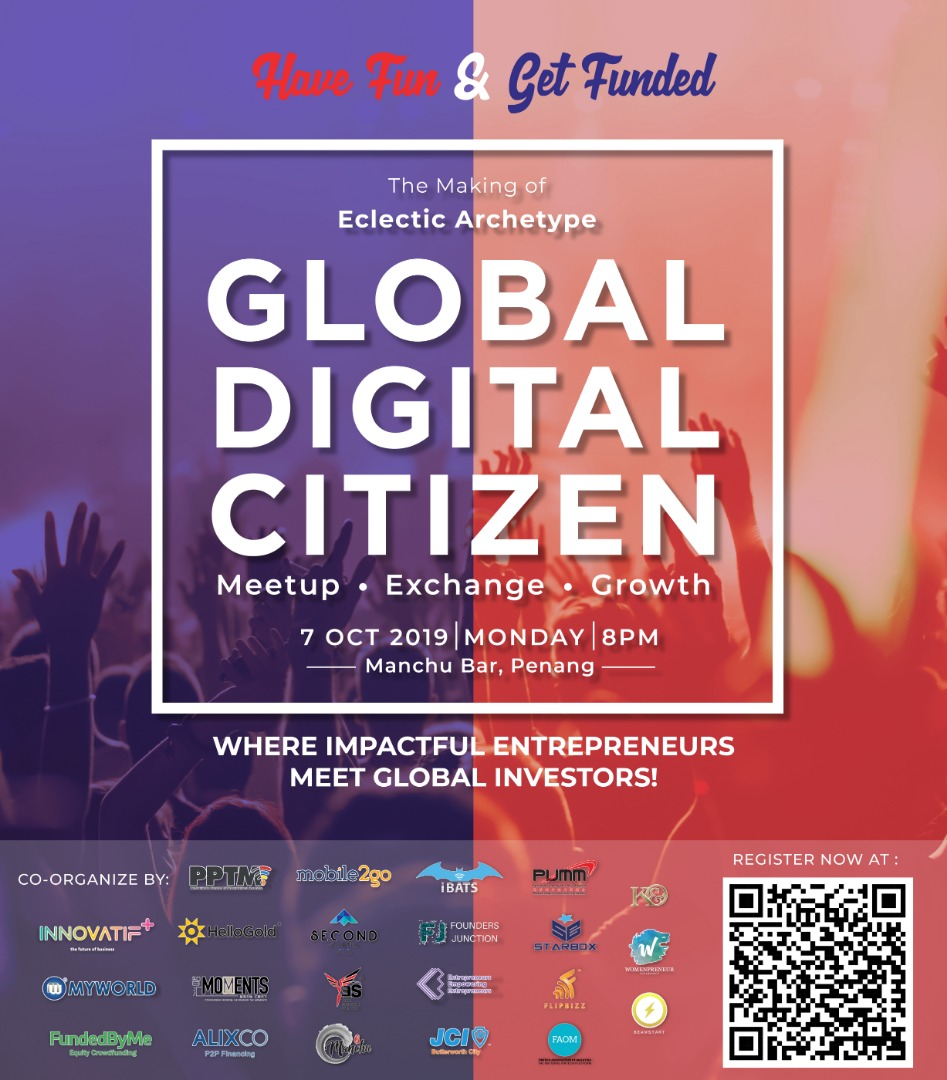 "AlixCo P2P and FundedByMe Malaysia are proud to host Global Digital Citizen | have fun & get funded"", together with +20 co organizers to debut the most anticipated drinking and networking in Penang"