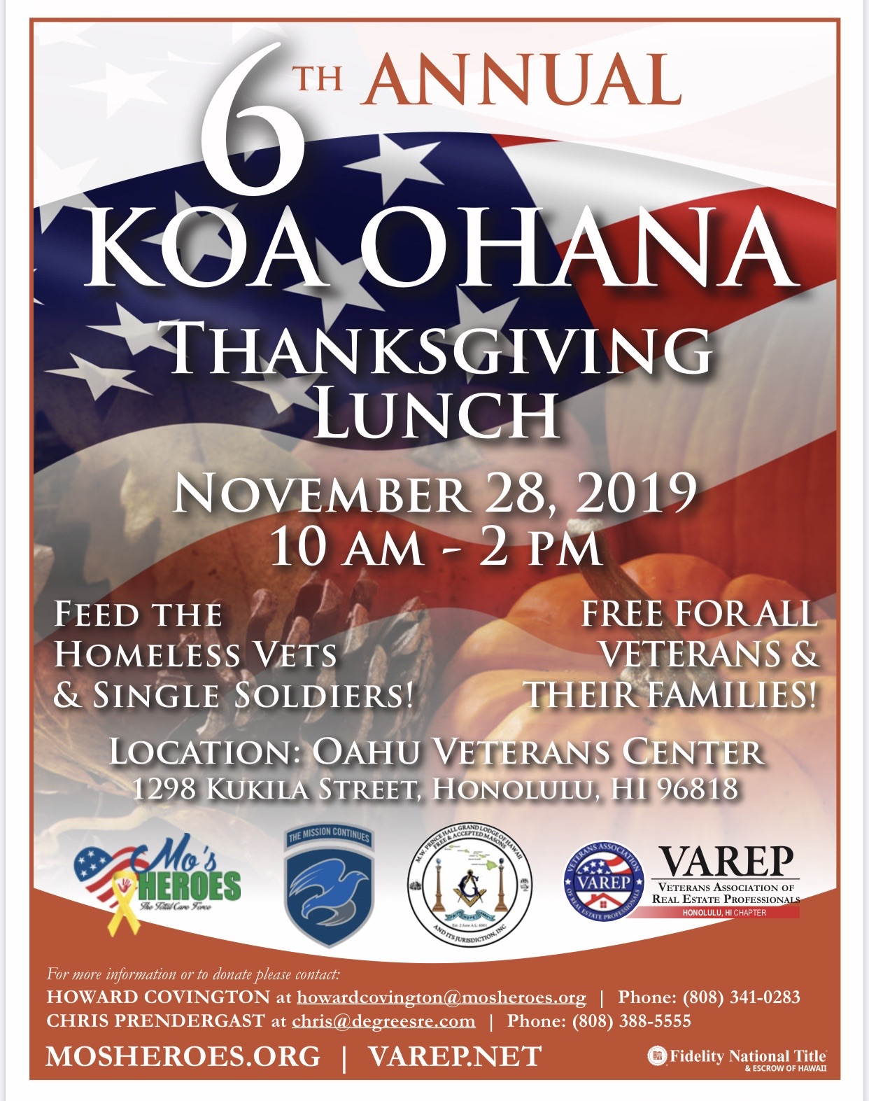 Mo\'s Heroes team up with Veterans Association of Real Estate Professionals for Thanksgiving on Nov 28