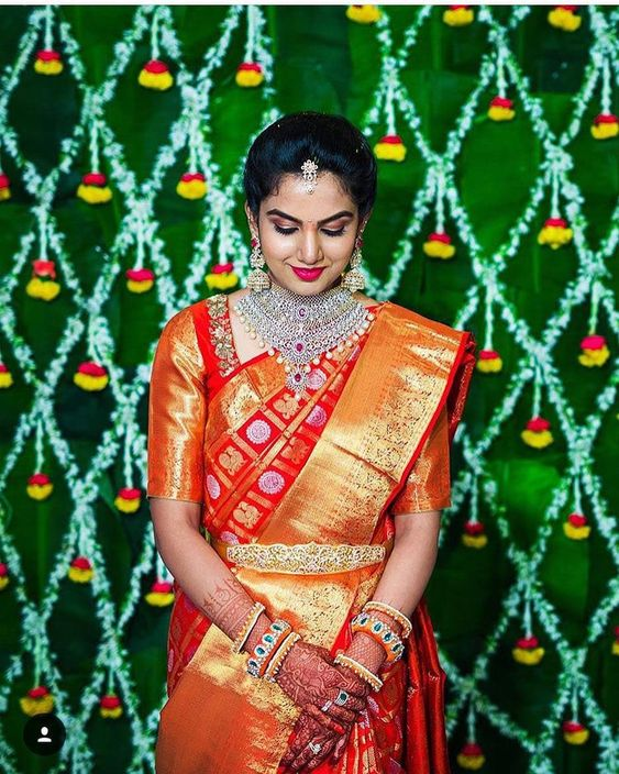 Chilli red kanchipuram silk sarees  for wedding from kanjivaram silks