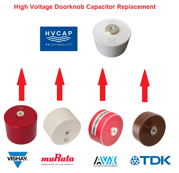 Alternative Replacement Cross Reference for High Voltage Doorknob Capacitor from Vishay, TDK, AVX, Murata, HVCA