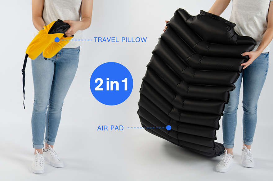 LayOn: The world's first 2 in 1, quick inflatable, carry-on approved travel pad solves an enormous problem of many travelers