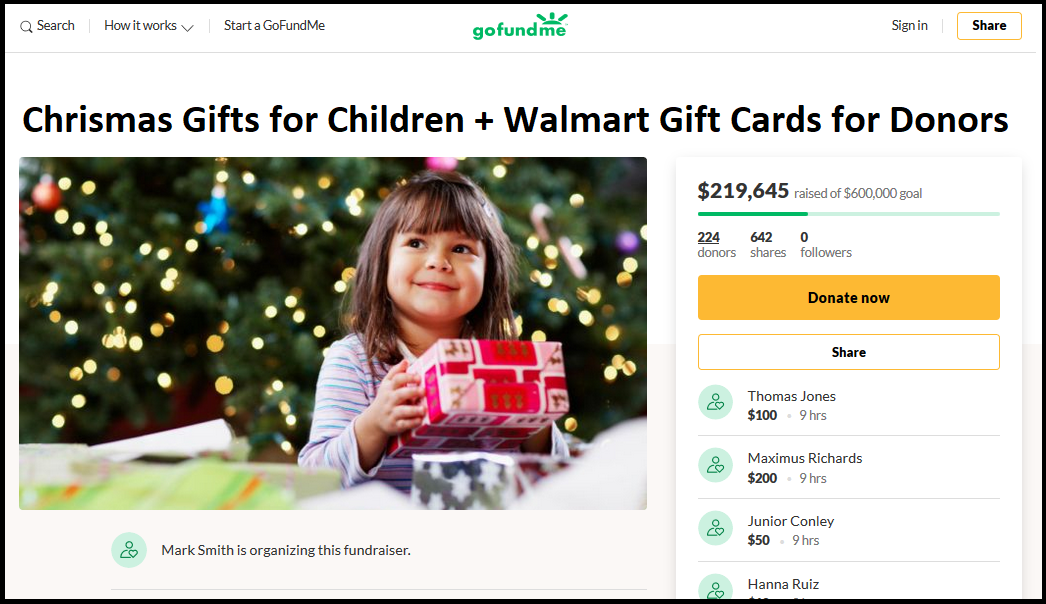 GoFundMe Started to Provide Christmas Gifts for Underprivileged Children