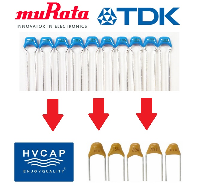 Alternative Solution for Radial Lead MLCC shortage - Replacement of Murata, TDK, Vishay, KEMET, AVX\'s Monolithic Capacitors