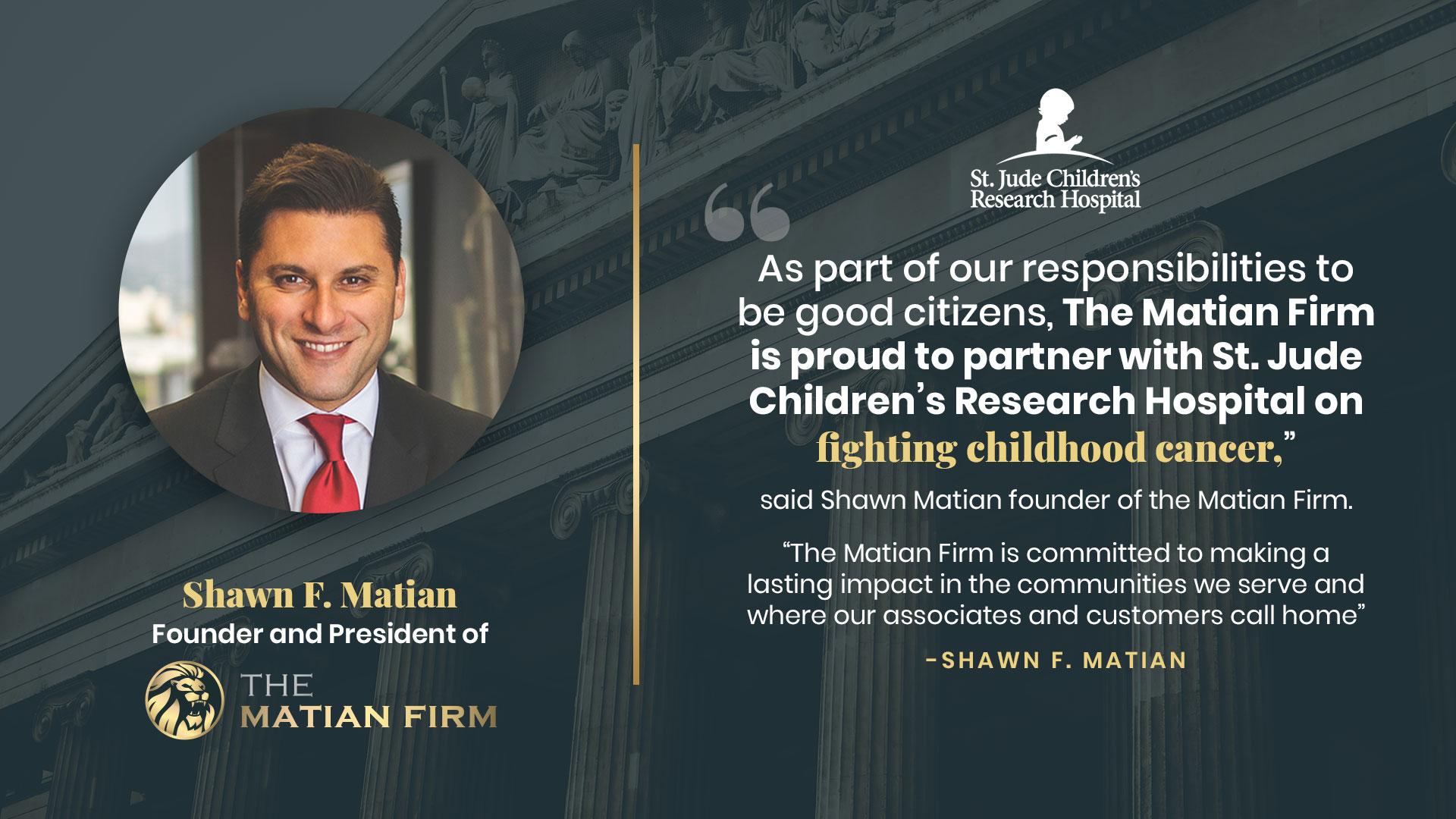Shawn Matian, founder of The Matian Firm Donates to St. Jude Children's Research Hospital