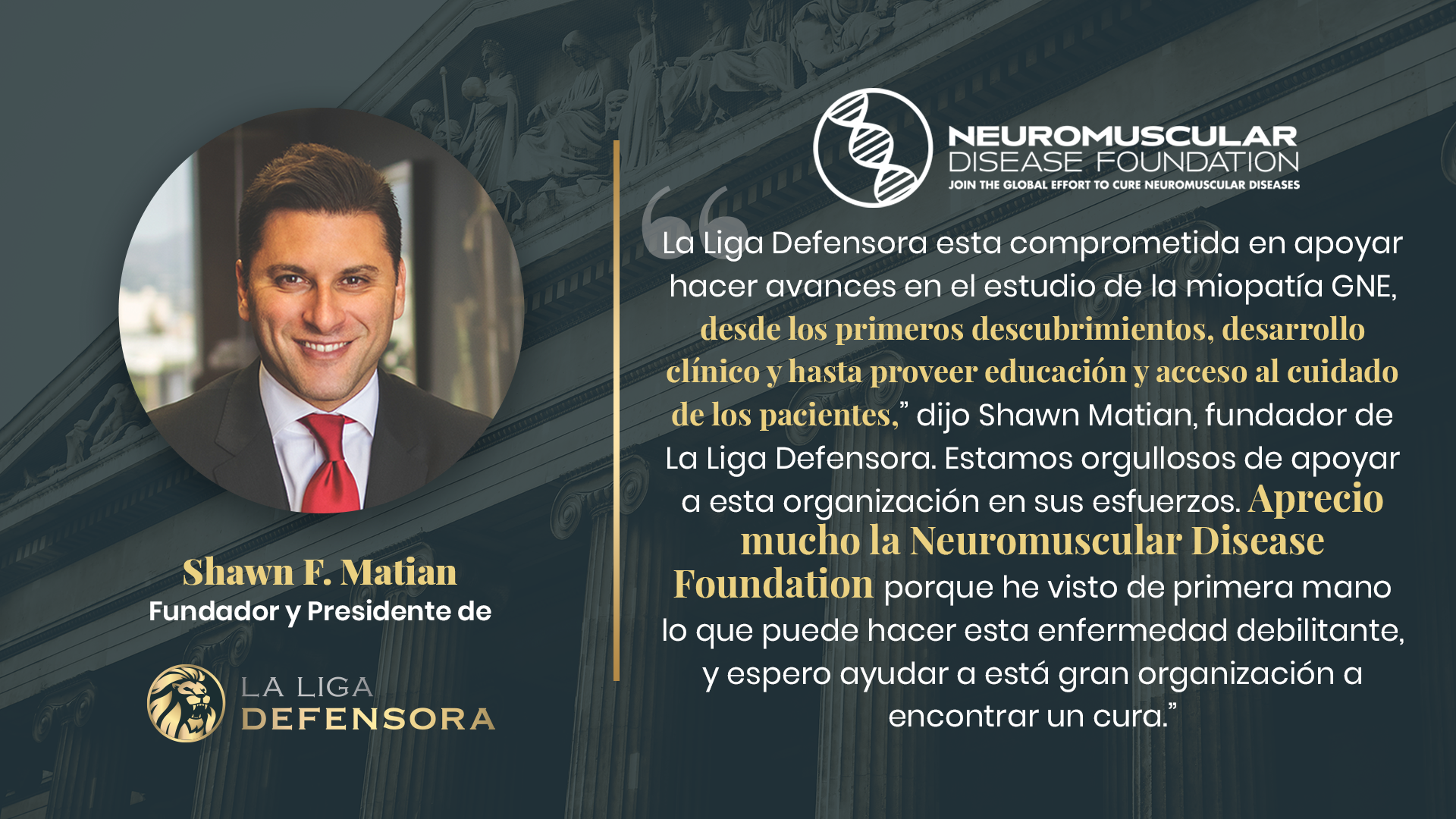 Shawn Matian, fundador de La Liga Defensora hace una donacion a la Neuromuscular Disease Foundation