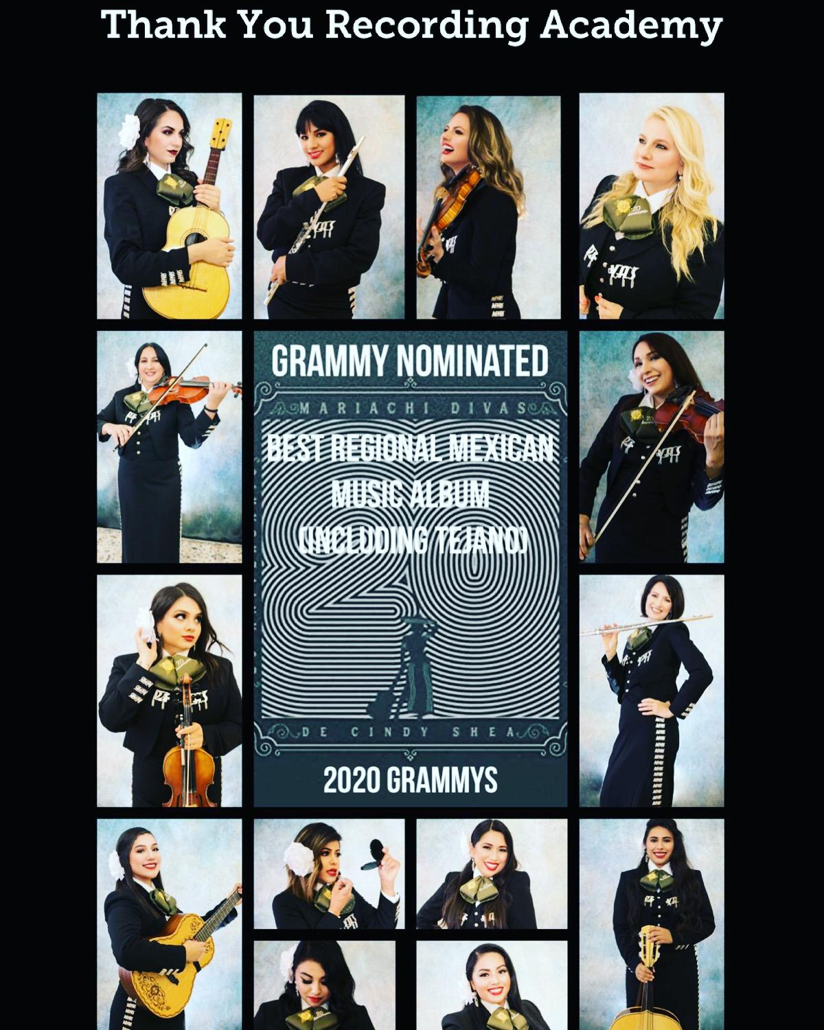 All-Female Ensemble Mariachi Divas de Cindy Shea Album 20 Aniversario (20th Anniversary) is Nominated for Best Regional Mexican Music Album (including Tejano) for the 62nd GRAMMY Awards