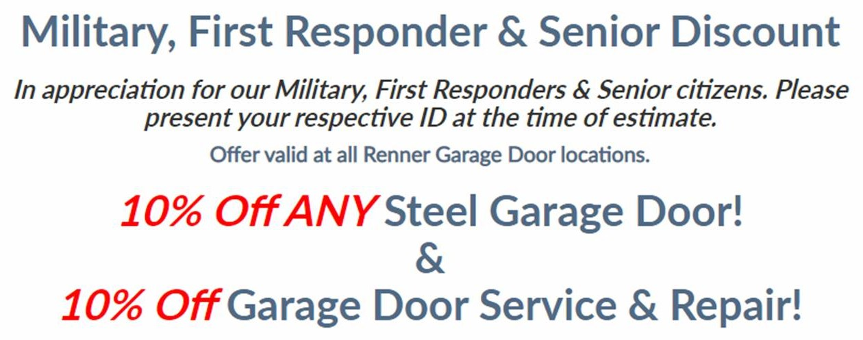 Renner Garage Door Expands Military and Senior Discount to Include First Responders