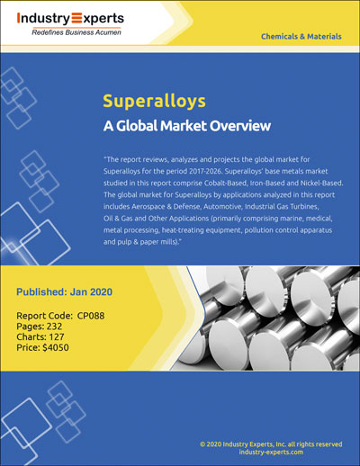 Aerospace & Defense Leads Global Superalloys Market to Touch about $10 Billion by 2026 - Market Research Report (2019-2026) by Industry Experts, Inc.