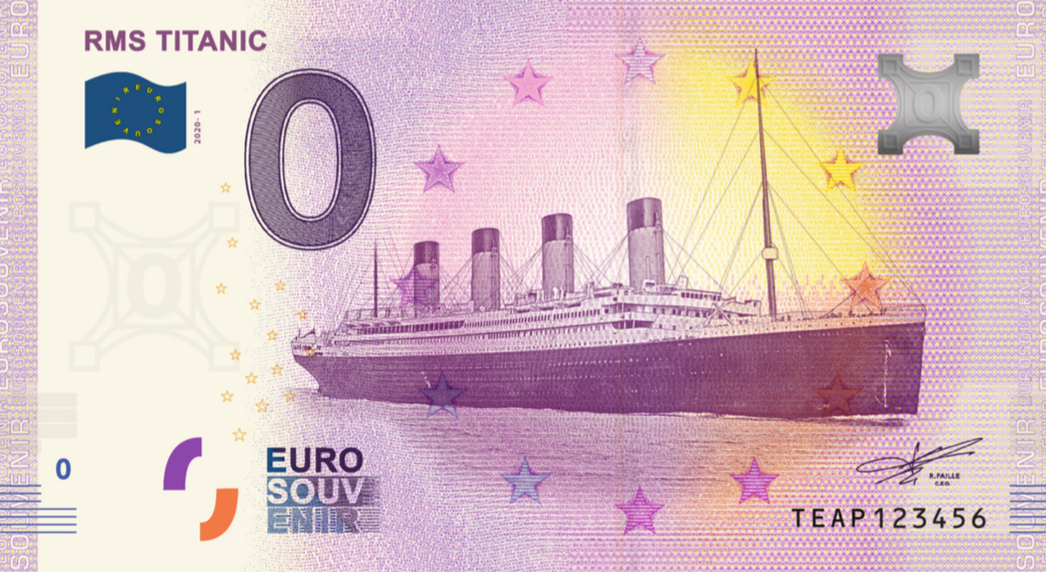New Euro Souvenir Banknote with the TITANIC Launches End of February 2020 in Ireland