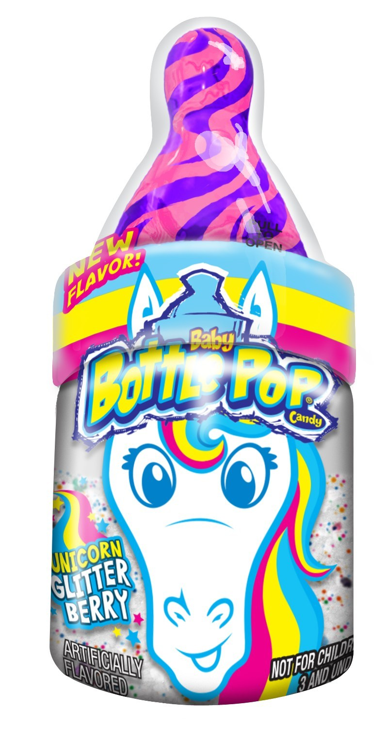 Bazooka Candy Brands® Dazzles The Candy Category With Edible Glitter Powder In Newest Baby Bottle Pop® Flavor: Unicorn Glitter Berry