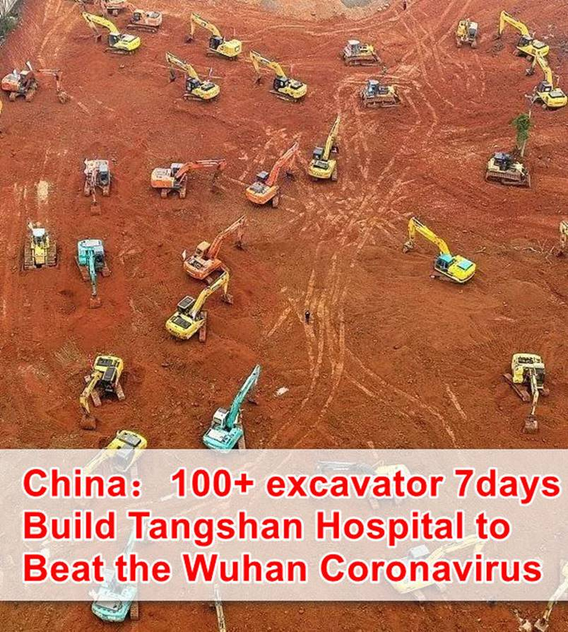 100+ Chinese Excavators Building New Tangshan Hospital in 7 Days to Beat the Wuhan Coronavirus