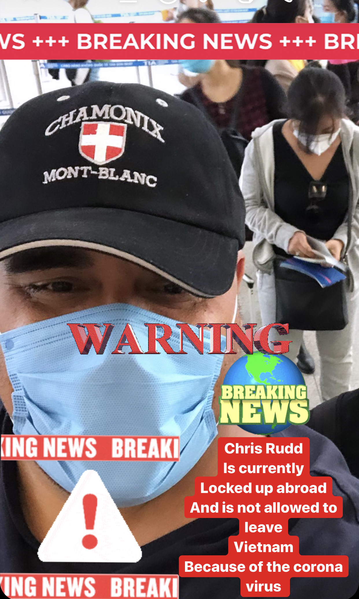 Coronavirus halts Chris Rudd from returning home from Vietnam since all flights are cancelled