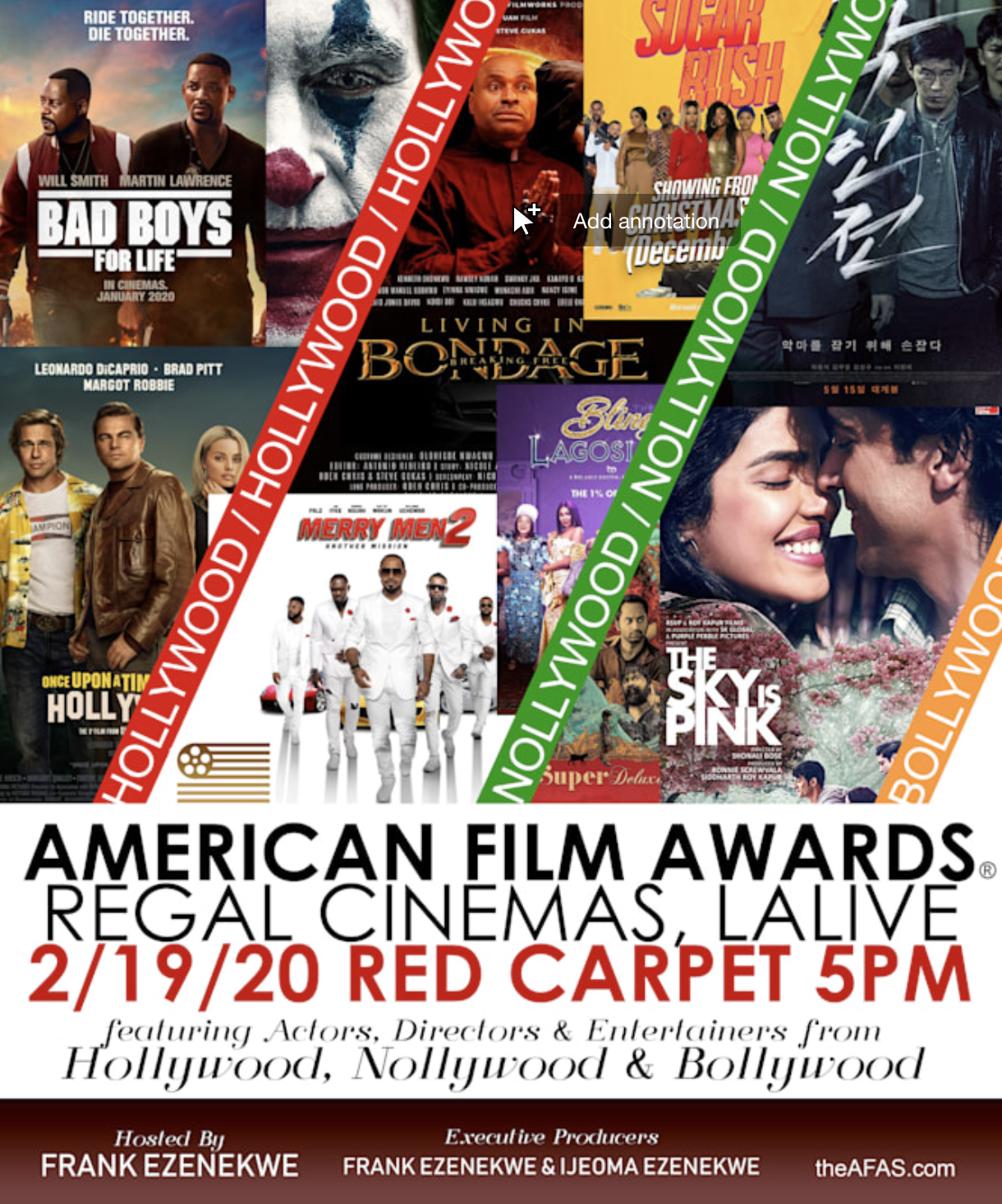 American Film Awards® 2020 Edition to be Held at Regal Cinemas, LA LIVE and the Nominees are Announced a day After the Oscars®