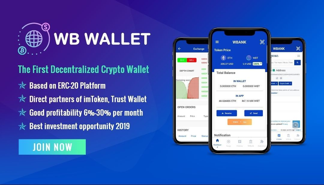 WBank Wallet is The First Decentralized Electronic Wallet in The World Based on ERC-20 Platform