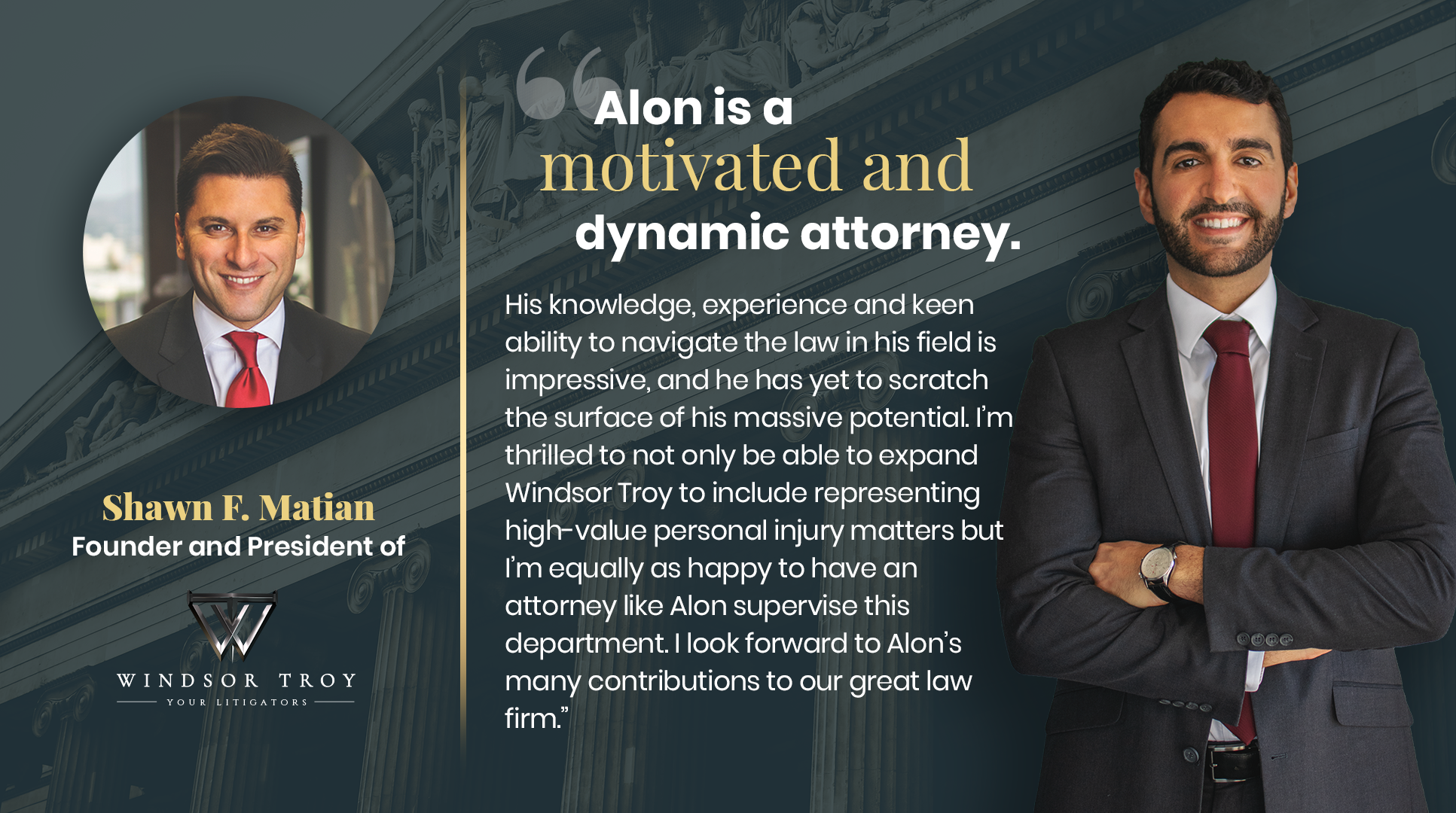 Windsor Troy is proud to announce the appointment of Attorney Alon Aliav