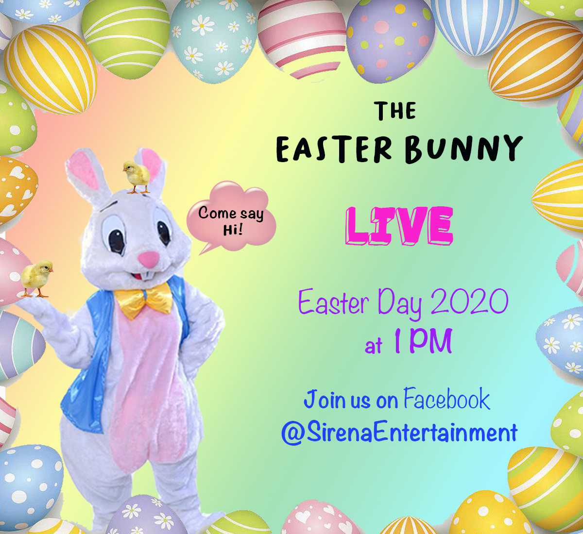 Kids can now have Easter fun at home with Sirena Entertainment's Easter Bunny Facebook LIVE Event