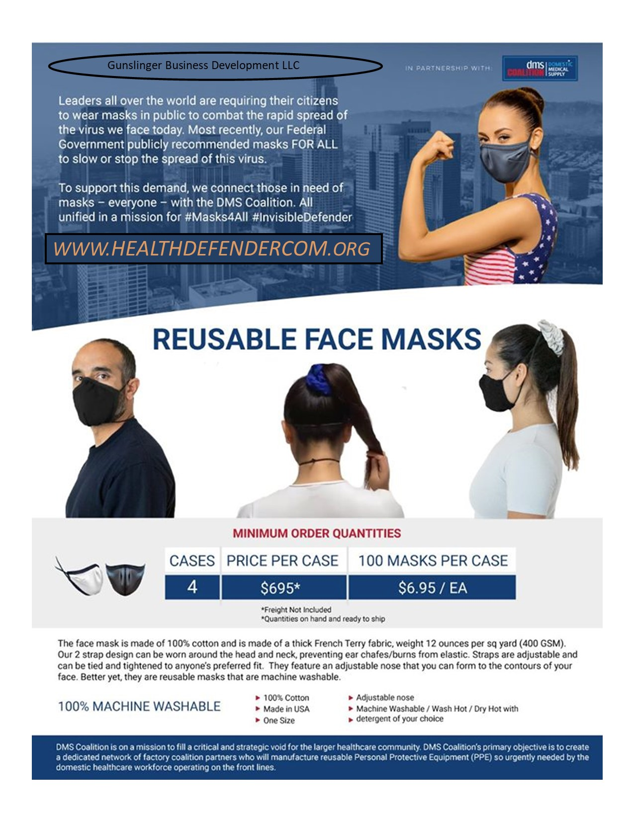 Gunslinger Business Development LLC Is Partnering With DMS To Create Reusable Face Masks In War Against Covid-19