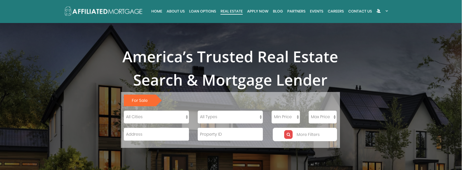 Affiliated Mortgage Launches Real Estate Search Tool into their New Website