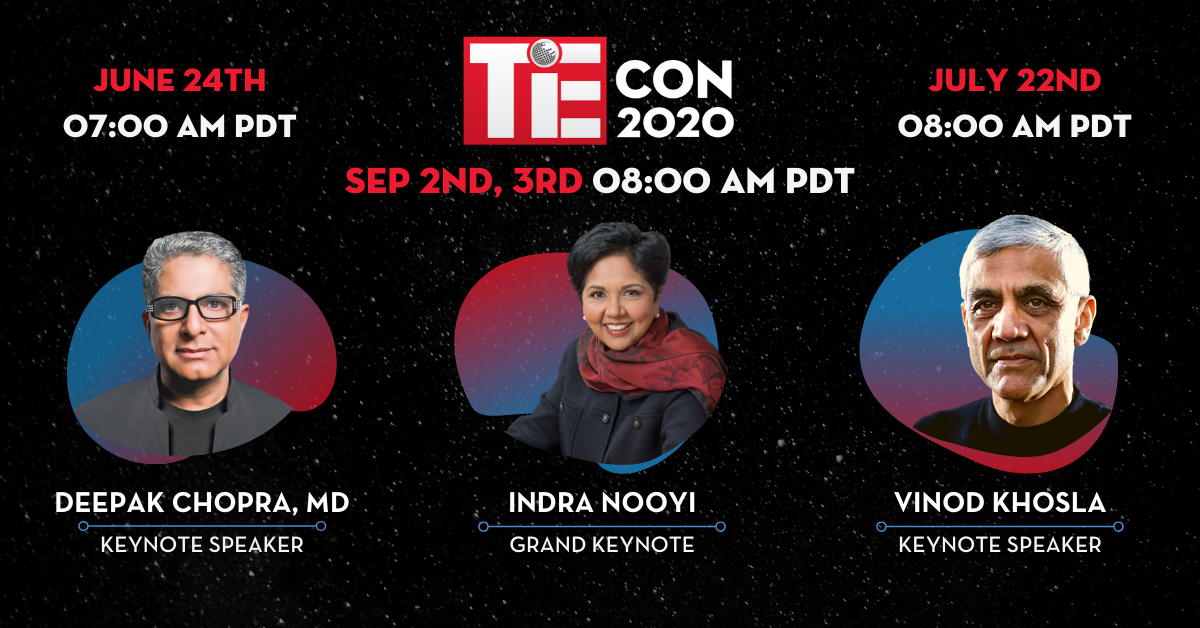 "TiE Silicon Valley launches ""Road to TiEcon"" with Deepak Chopra, MD, Vinod Khosla, Amitabh Kant, and Indra Nooyi as Grand Keynote for TiEcon 2020"