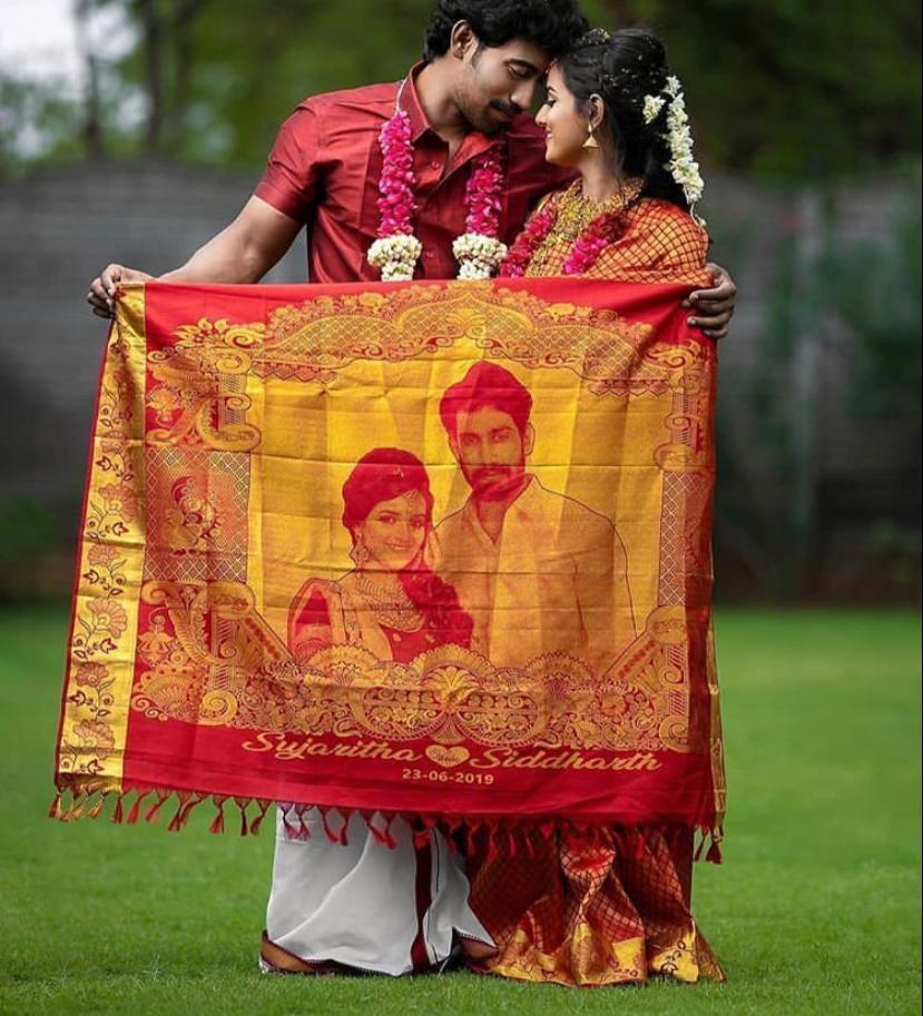 Bride photo weaved in Indian Wedding Sarees at Kanjivaram Silks