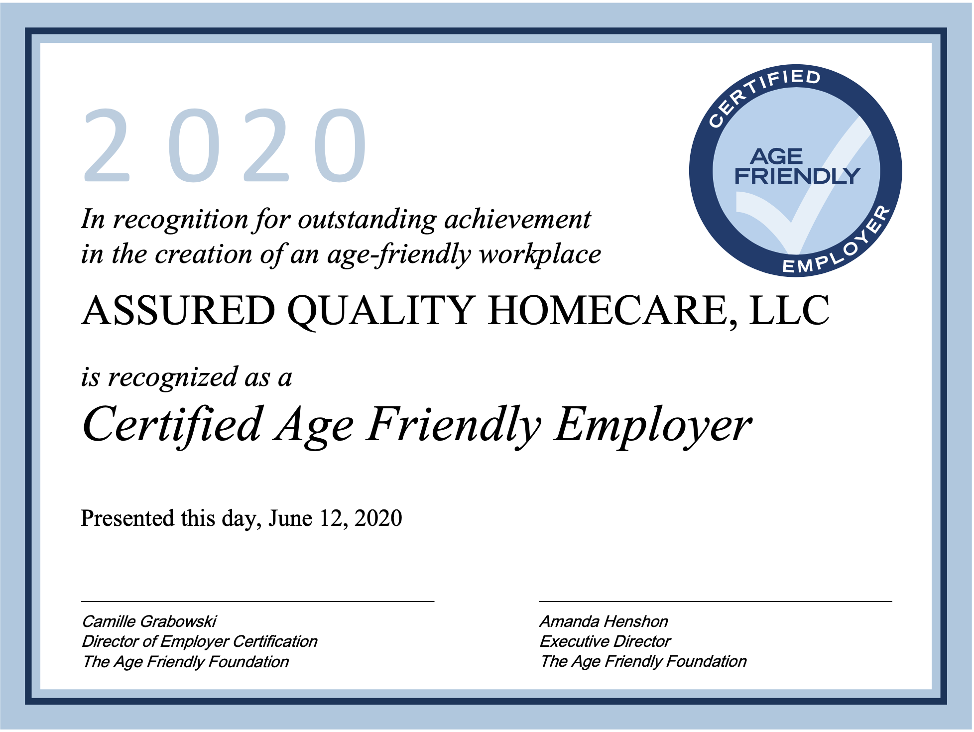 Assured Quality Homecare Recognized as a Certified Age Friendly Employer
