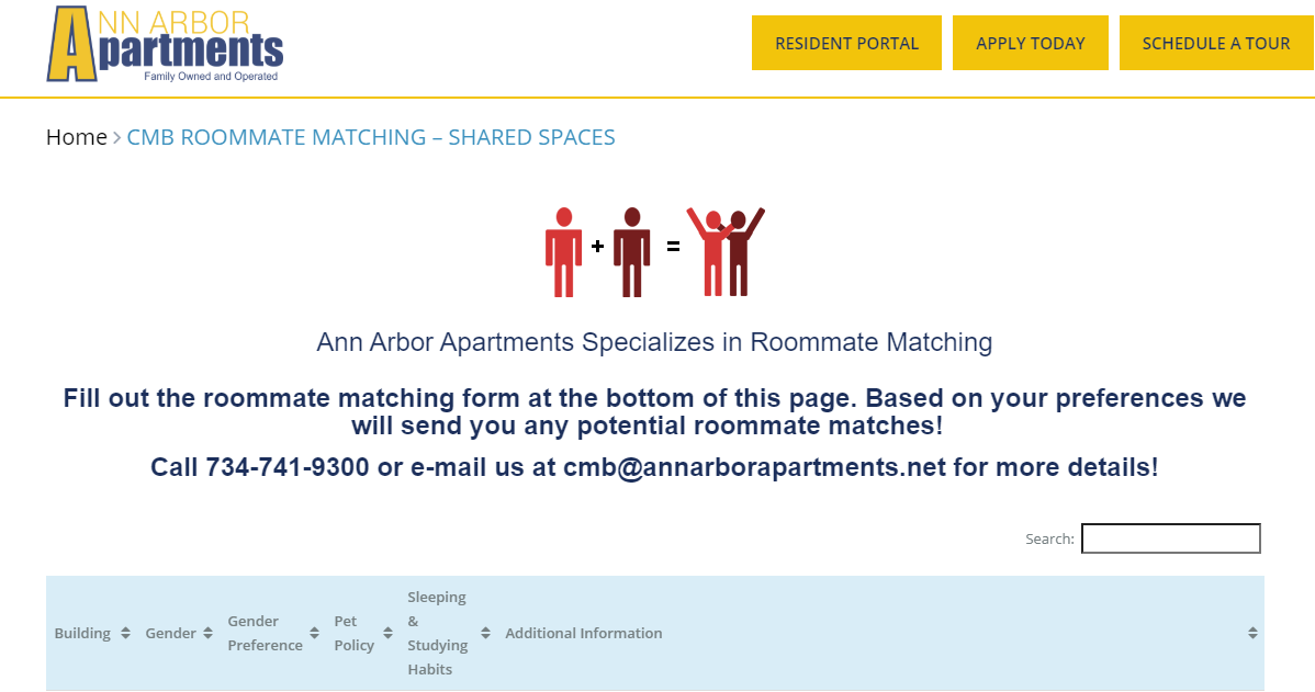 Ann Arbor Apartments Roommate Matching service allowing residents to get companions and save on their budgets