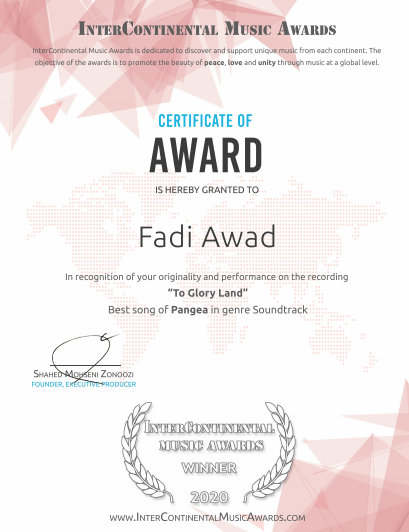 An Important Win For Fadi Awad in The Intercontinental Music Awards