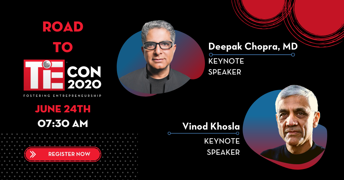 "Successful launch of TiE Silicon Valley's ""Road to TiEcon"" with Deepak Chopra, MD and Vinod Khosla"