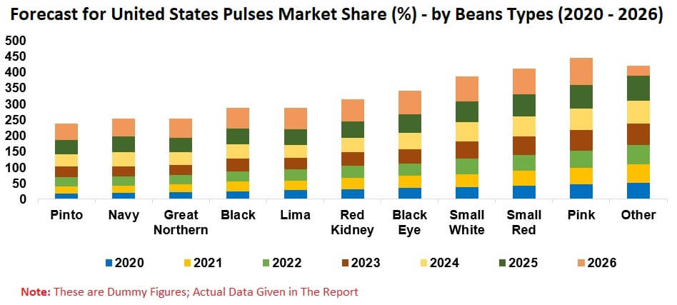 United States Pulse Market, Volume, Production, Import, Export, By Segments (Beans, Dry Peas, Lenticels, Chickpeas) and Sub-segments of 11 Beans Types, Company Analysis