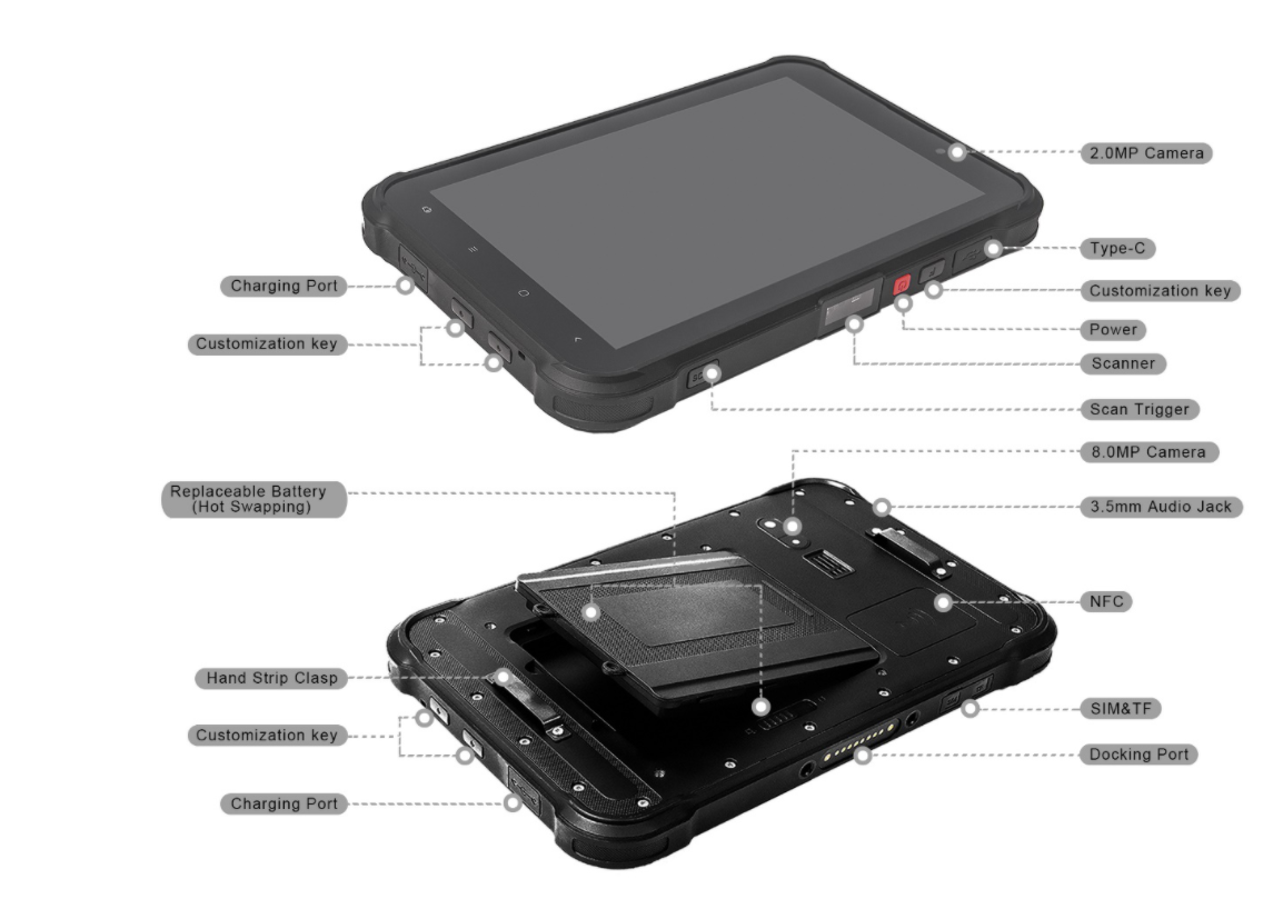 Industrial Rugged android tablet with magnetic fast charger