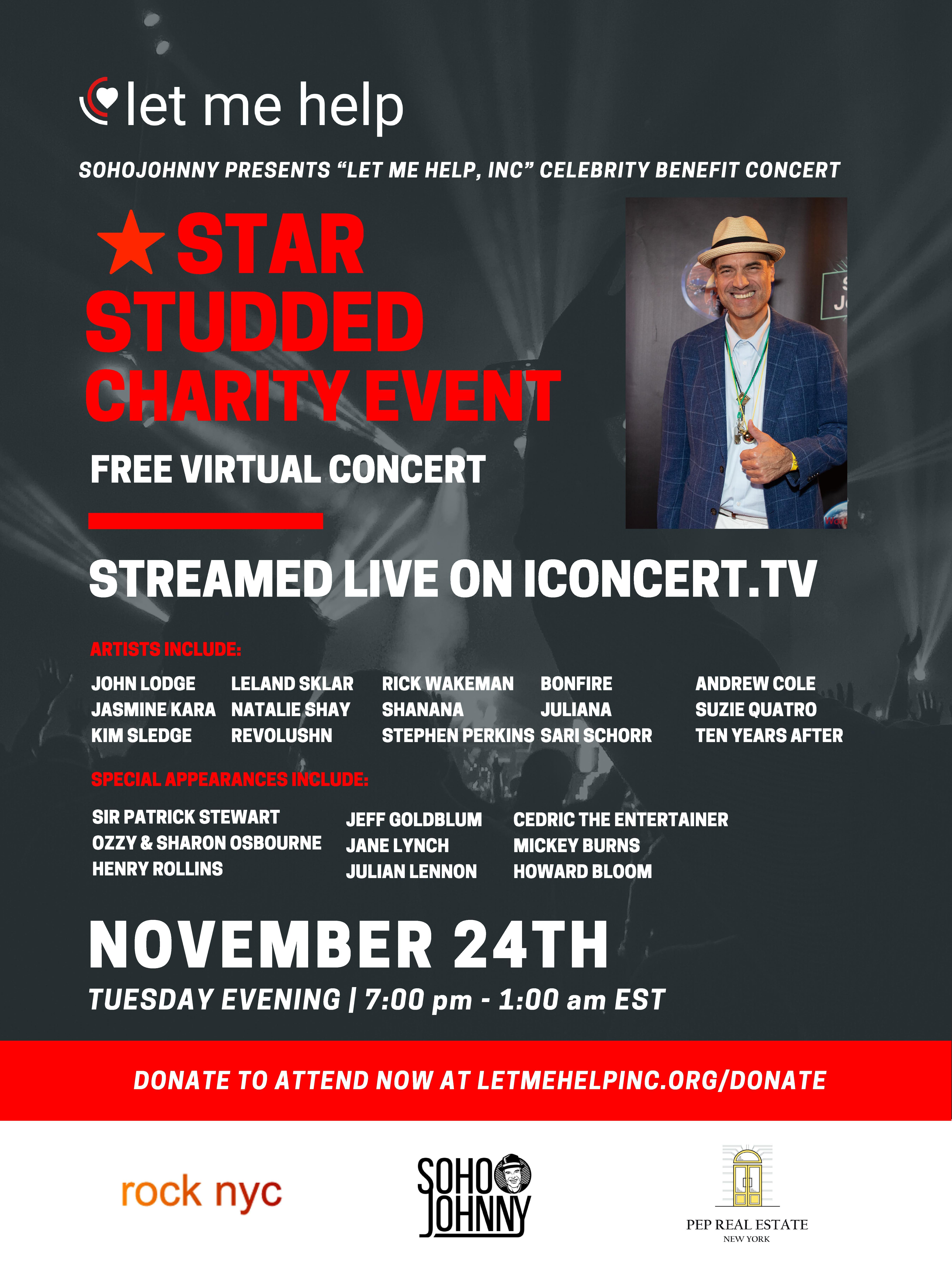 """SohoJohnny Presents """"Let Me Help, Inc"""" Celebrity Benefit Concert 11/24/20"""