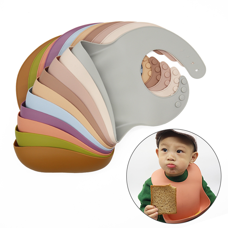 The silicone baby bib is soft, safe and easy to clean