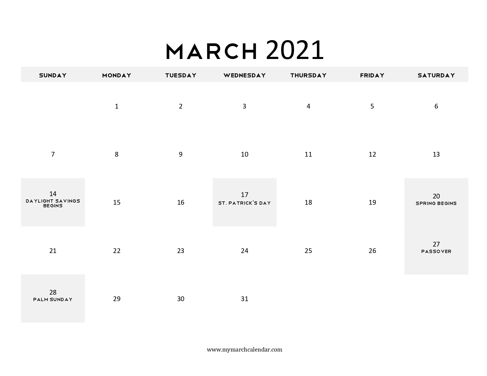 One Page March 2021 Calendar Would Never Allow One to Get Struck in Planning Daily Routine