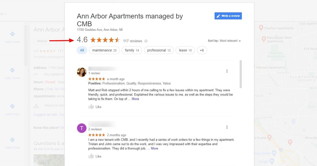 Past and current residents rate Ann Arbor Apartments highly in their testimonials and reviews