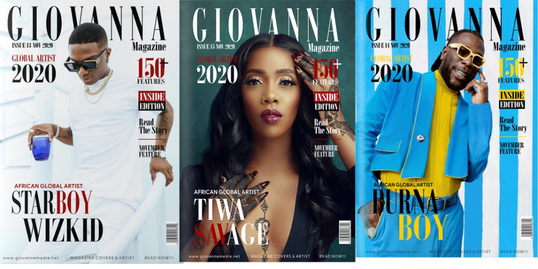 Wizkid, Burnaboy and Tiwa Savage Cover The November Edition of The Giovanna Media Magazine