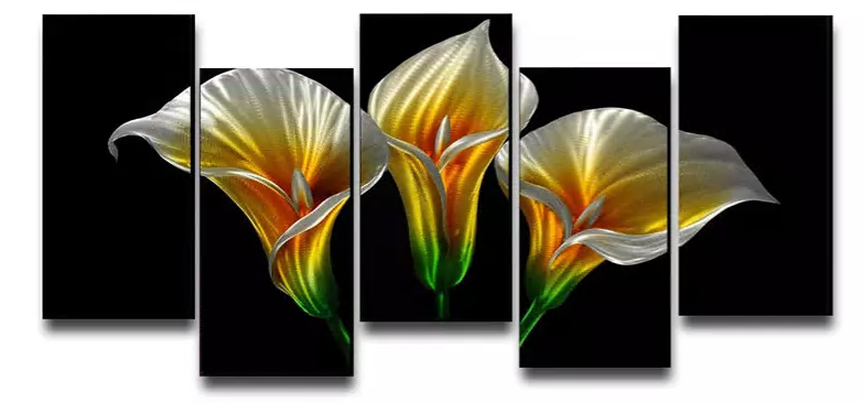 3d Handmade Calla Lily Oil Painting Modern Metal Wall Panel
