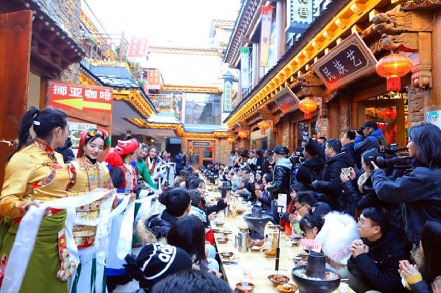 Long Table Banquet in Dukezong Romantic Village on Most Ritual Tibetan New Year's Eve