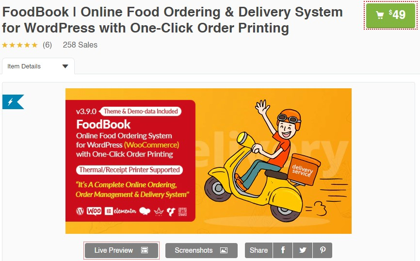 Online Food Ordering & Delivery System for WordPress Releases on Themelooks