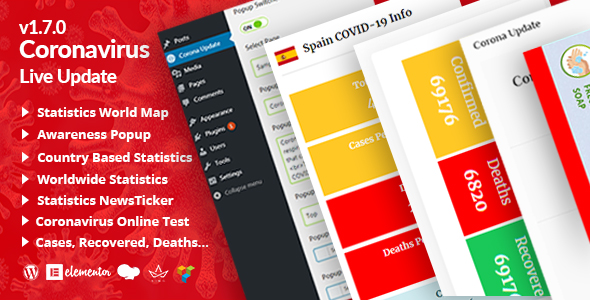 Covid-19 Statistics Live Update WordPress Plugin Release on Themelooks