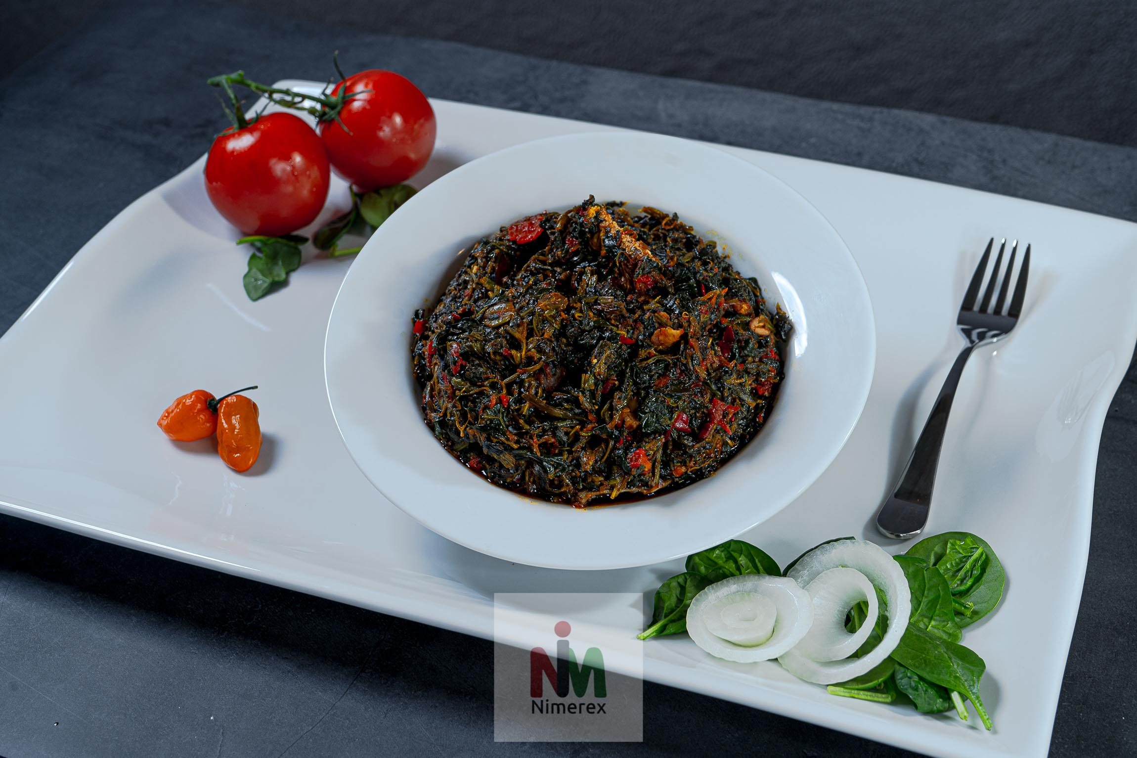 Vegetable Soup (efo-riro) delivery to homes across America. Get menu on nimerex.com
