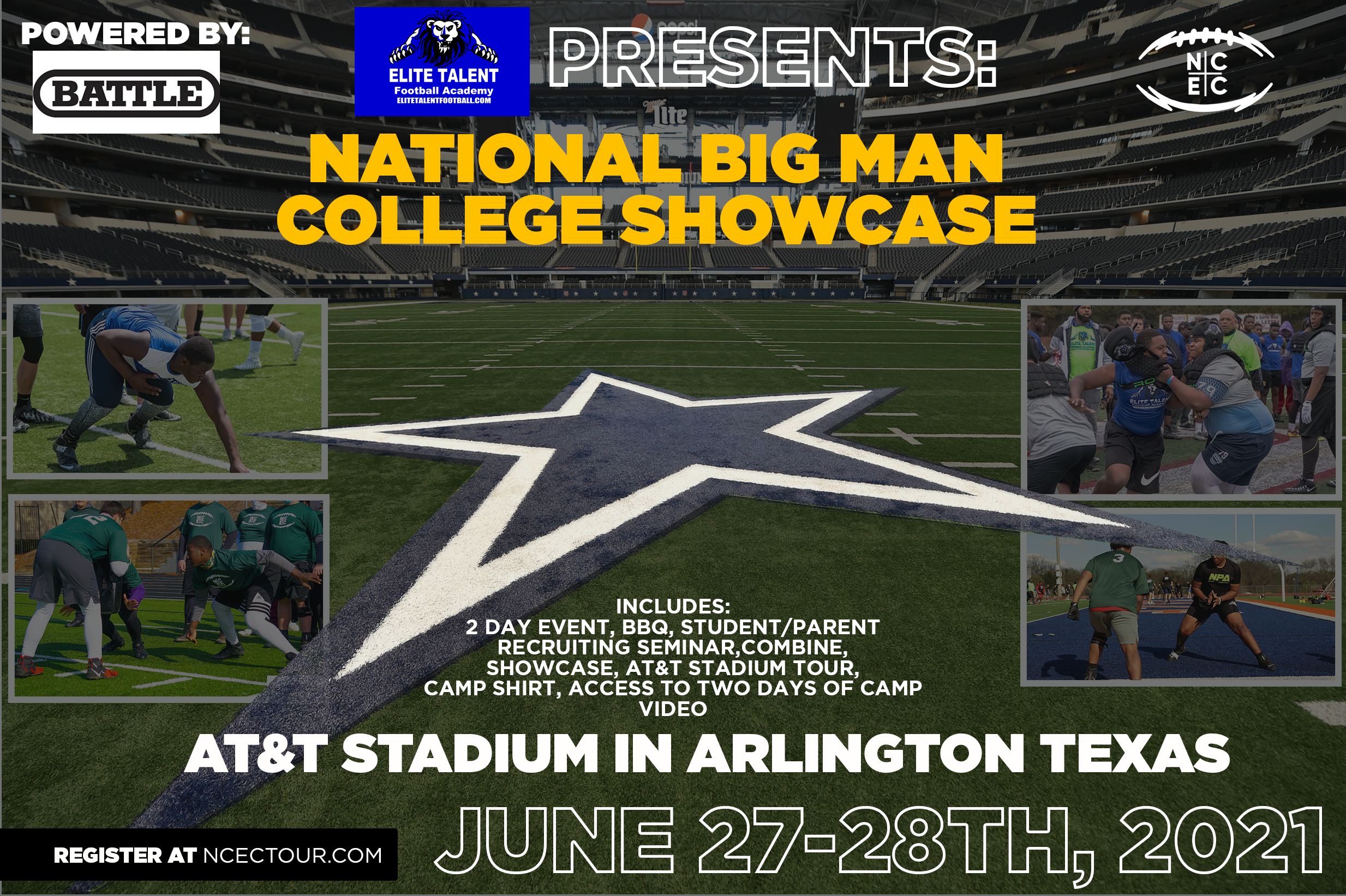 The National 'Big Man Camp' at Dallas Cowboys Stadium Powered by Battle welcomes the Next Generation of Football Stars