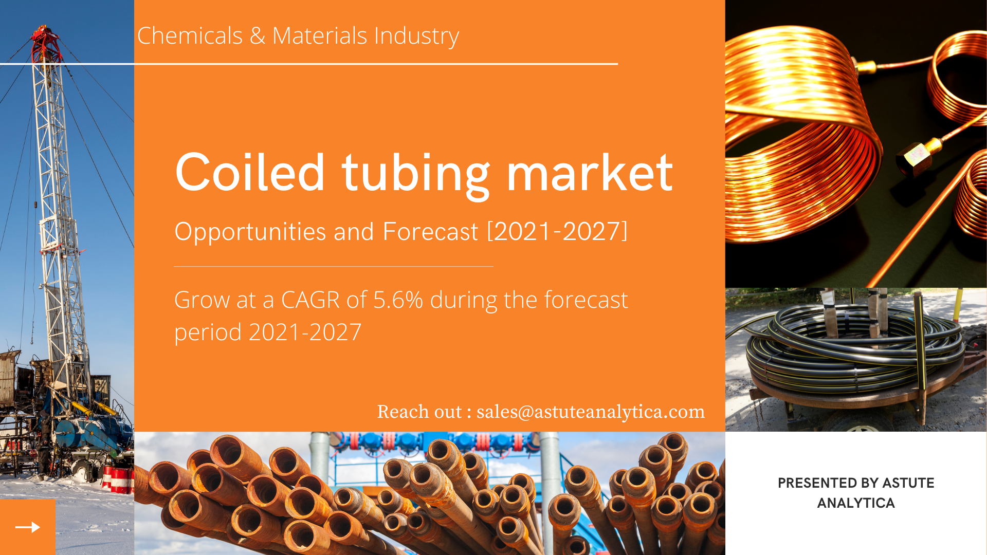 The Global coiled tubing market report delivers comprehensive analysis of the market structure along with a forecast of the various segments and sub-segment