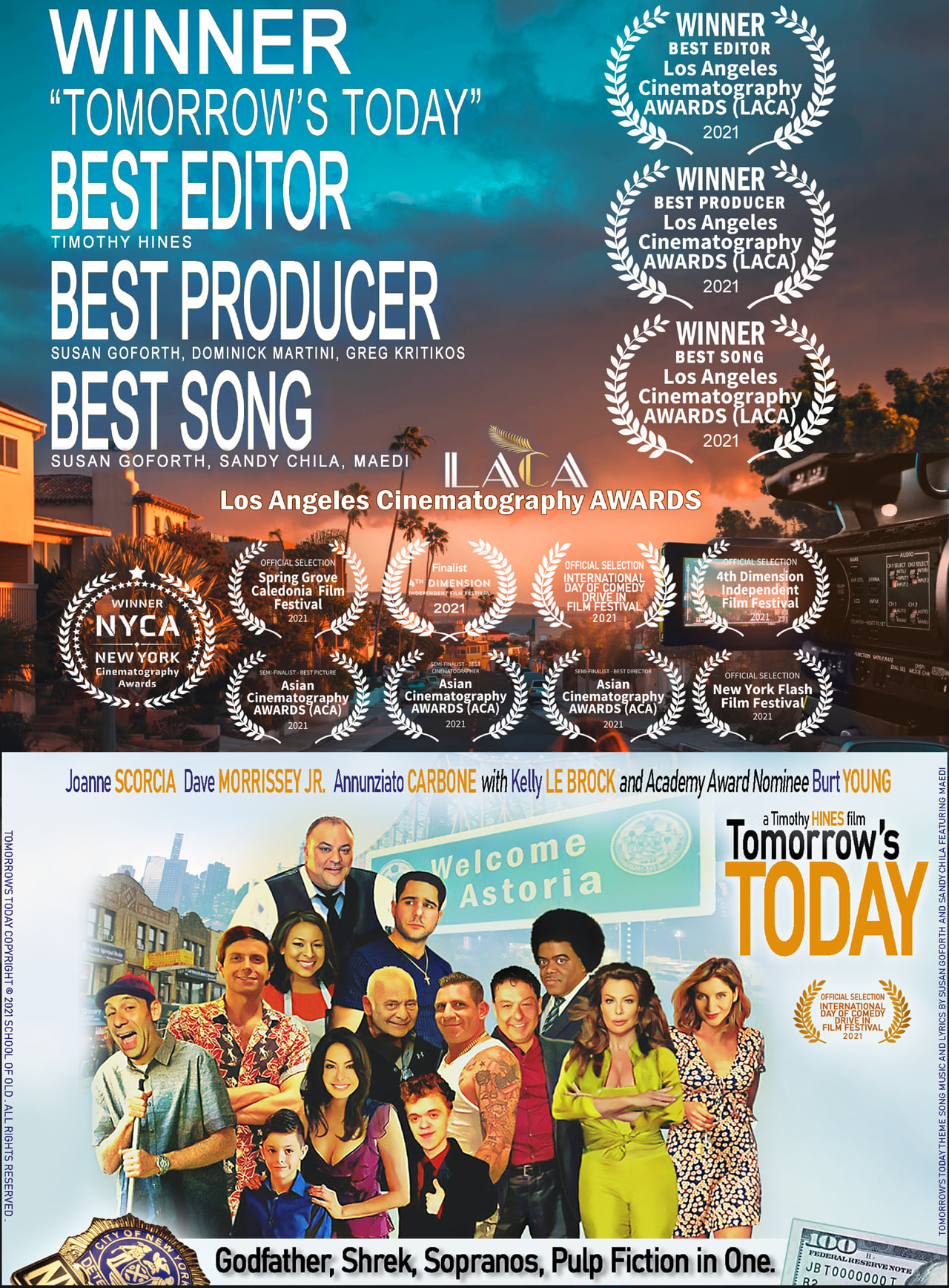 """Timothy Hines' """"Tomorrow's Today"""" with Kelly Le Brock and Burt Young, picks up 3 Wins at the Los Angeles Cinematography Awards"""