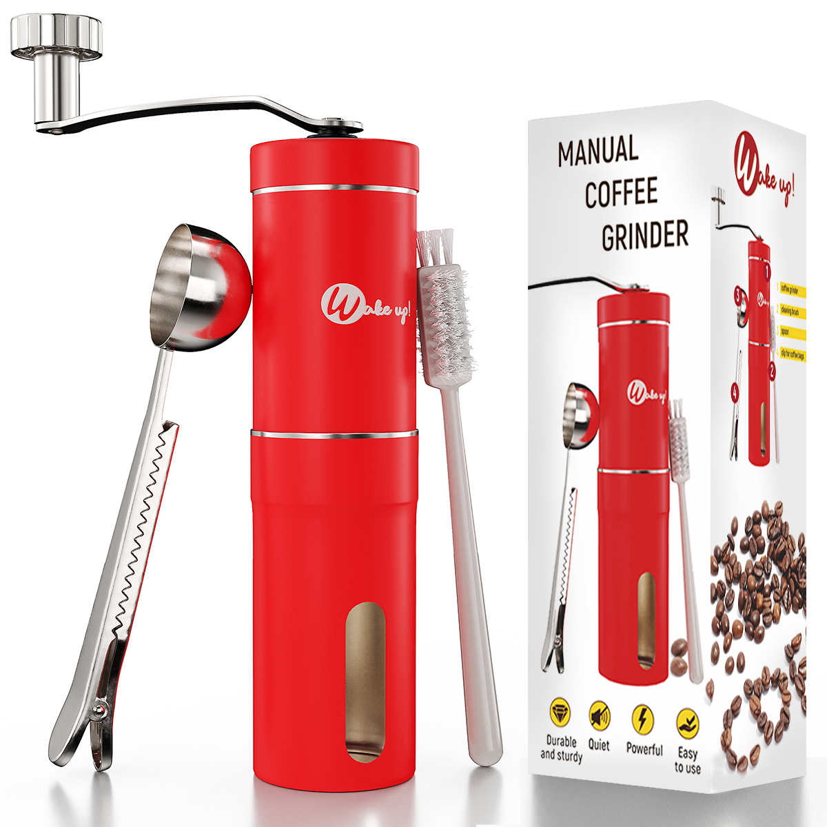 Wakeup Introduces Hand Cranked, Red Stainless Steel Manual Coffee Grinder with Discounts