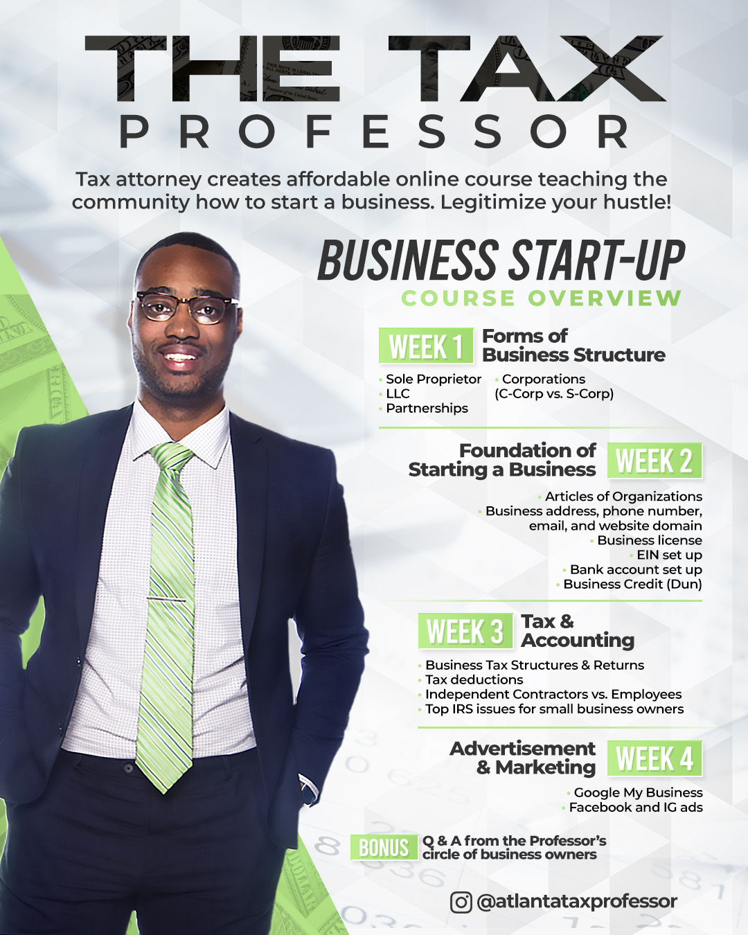 """Johnathan Whidbee """"The Tax Professor"""" Launches New Business Start-Up Online Course"""